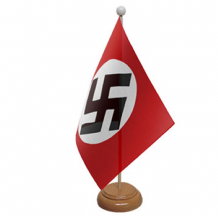 GERMAN WWII REGULAR (NAZI) - TABLE FLAG WITH WOODEN BASE